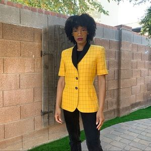 1980's Vintage Yellow Plaid Short Sleeve Blazer
